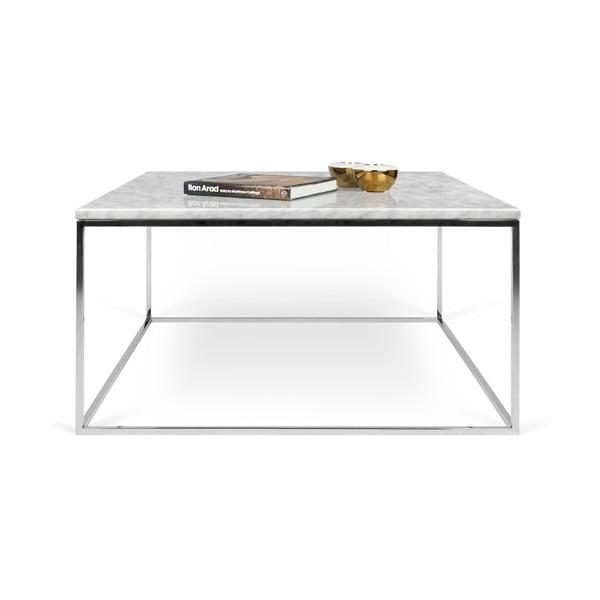 Bílý mramorový konferenční stolek s chromovými nohami TemaHome Gleam, délka75 cm