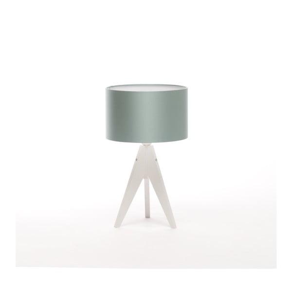Ocelově modrá  stolní lampa 4room Artist, bílá lakovaná bříza, Ø 25 cm