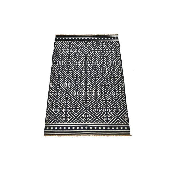Ručně tkaný koberec Black and White Ethno, 150x245 cm