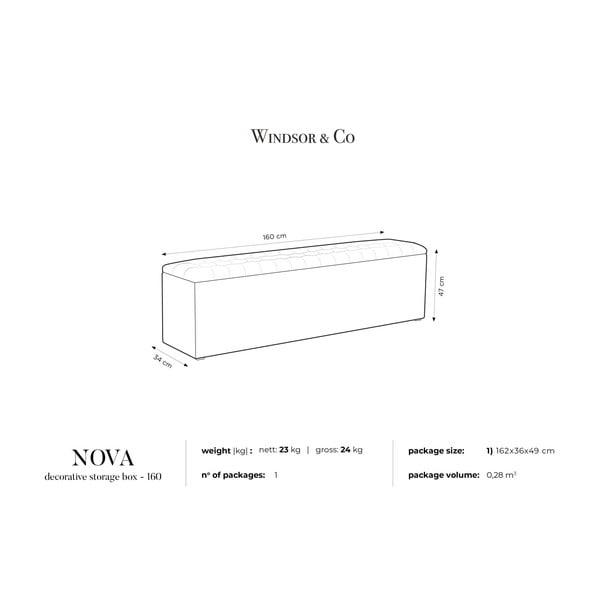 Černý otoman s úložným prostorem Windsor & Co Sofas Nova, 160 x 47 cm
