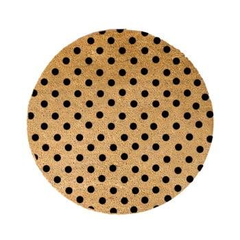 Covor intrare rotund Artsy Doormats Dots, ⌀ 70 cm, negru