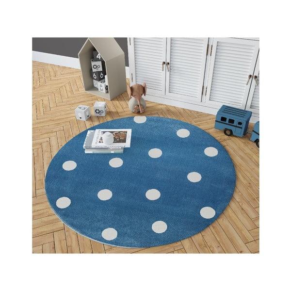 Modrý kulatý koberec s hvězdami KICOTI Blue, ø 100 cm