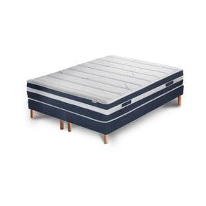 Tmavě modrá postel s matrací a dvojitým boxspringemStella Cadente Maison Venus Europe, 160x200 cm