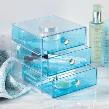 Organizator cu sertare iDesign, 16,5x16,5cm, albastru
