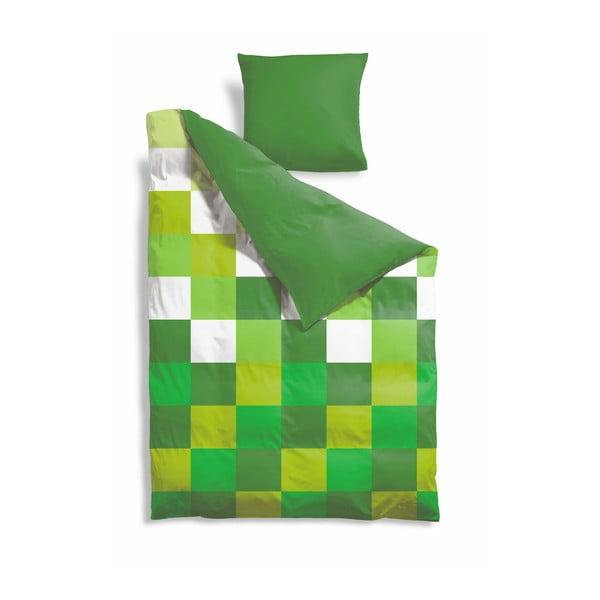 Prodloužené povlečení Green Pixel, 140x220 cm