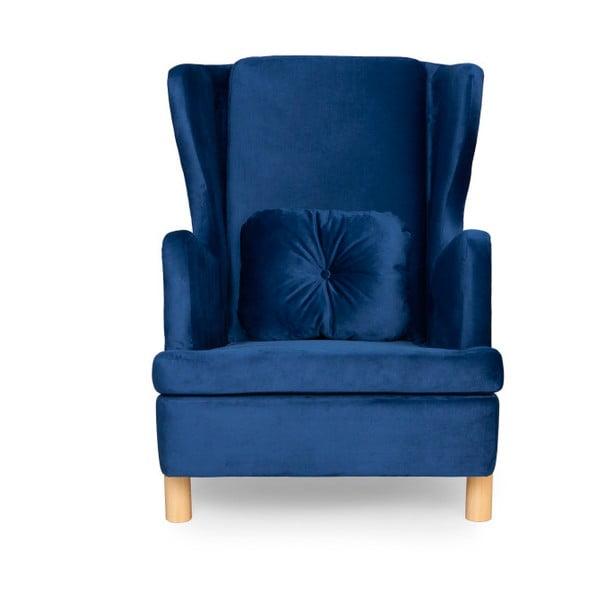 Tmavě modré křeslo ušák SKANDICA Ingrid Navy Blue