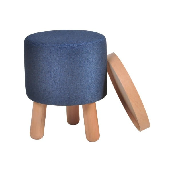 Modrá stolička s detaily z bukového dřeva a odnímatelnou deskou Garageeight Molde, ⌀35cm