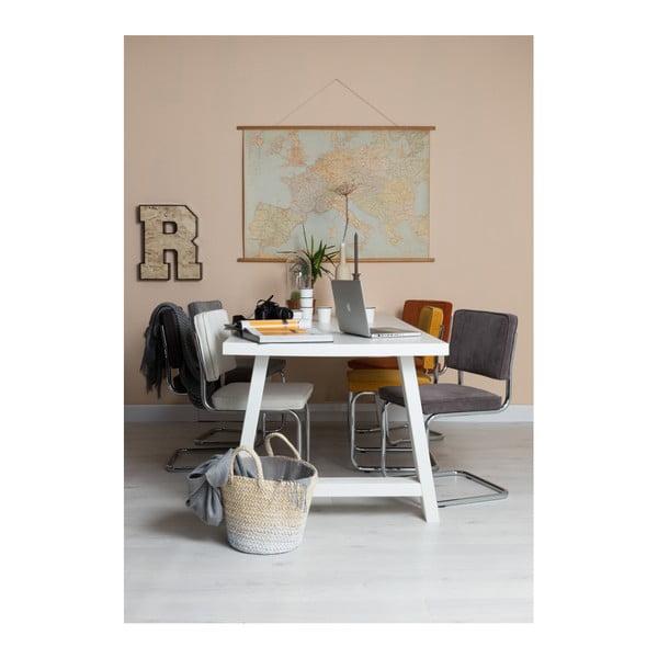 Masă din lemn masiv Zuiver A Framed, 230 x 90 cm, alb