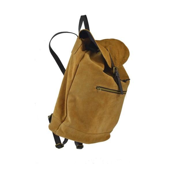 Koňakově hnědý kožený batoh Chicca Borse Inna