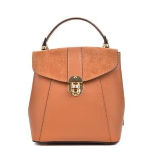 Koňakově hnědý kožený batoh Isabella Rhea Carmit