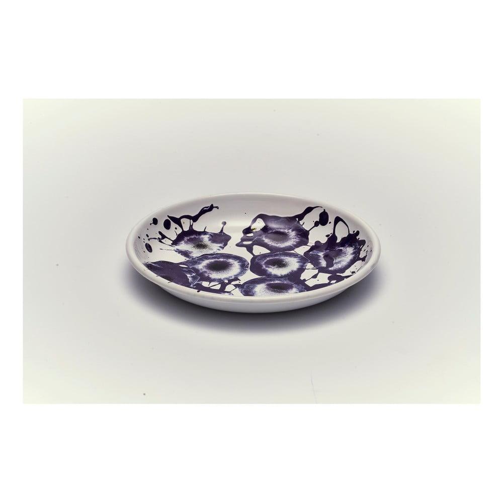 Fialovobílý smaltovaný talíř Kapka Floral Madness, Ø19cm
