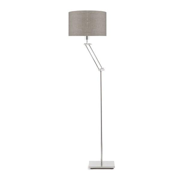Šedá volně stojící lampa s tmavě béžovým stínidlem Citylights Dublin