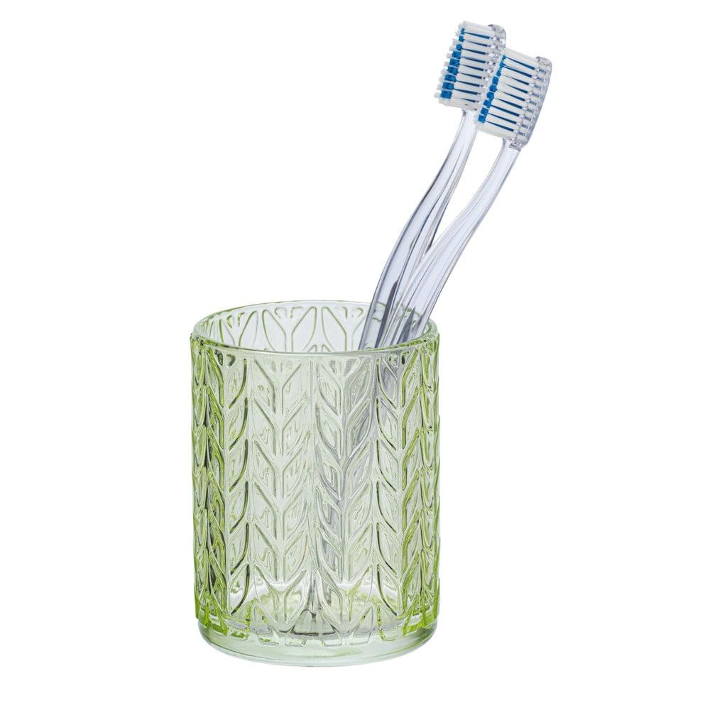 Produktové foto Zelený skleněný kelímek na kartáčky Wenko Vetro