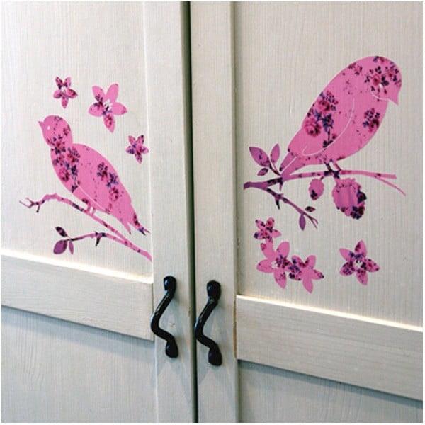 Samolepka na zeď Pink Birds, 20x30 cm