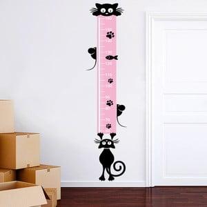 Samolepkový metr na zeď Metr s kočičkami, 160 cm