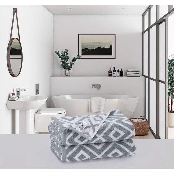 Sada 2 bavlnených osušiek Muller Textiels Rassano Gris, 70 × 140 cm