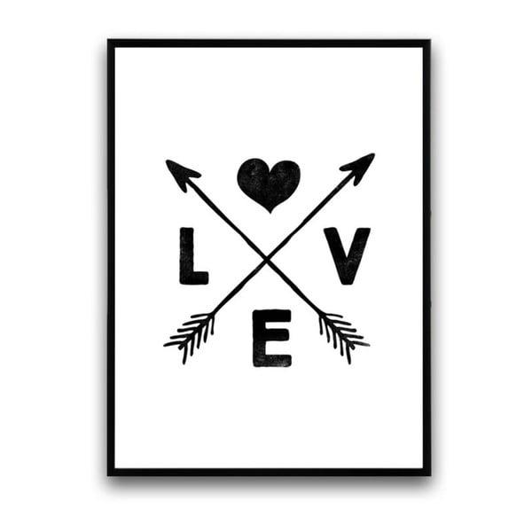 Plakát v dřevěném rámu Cross love, 38x28 cm