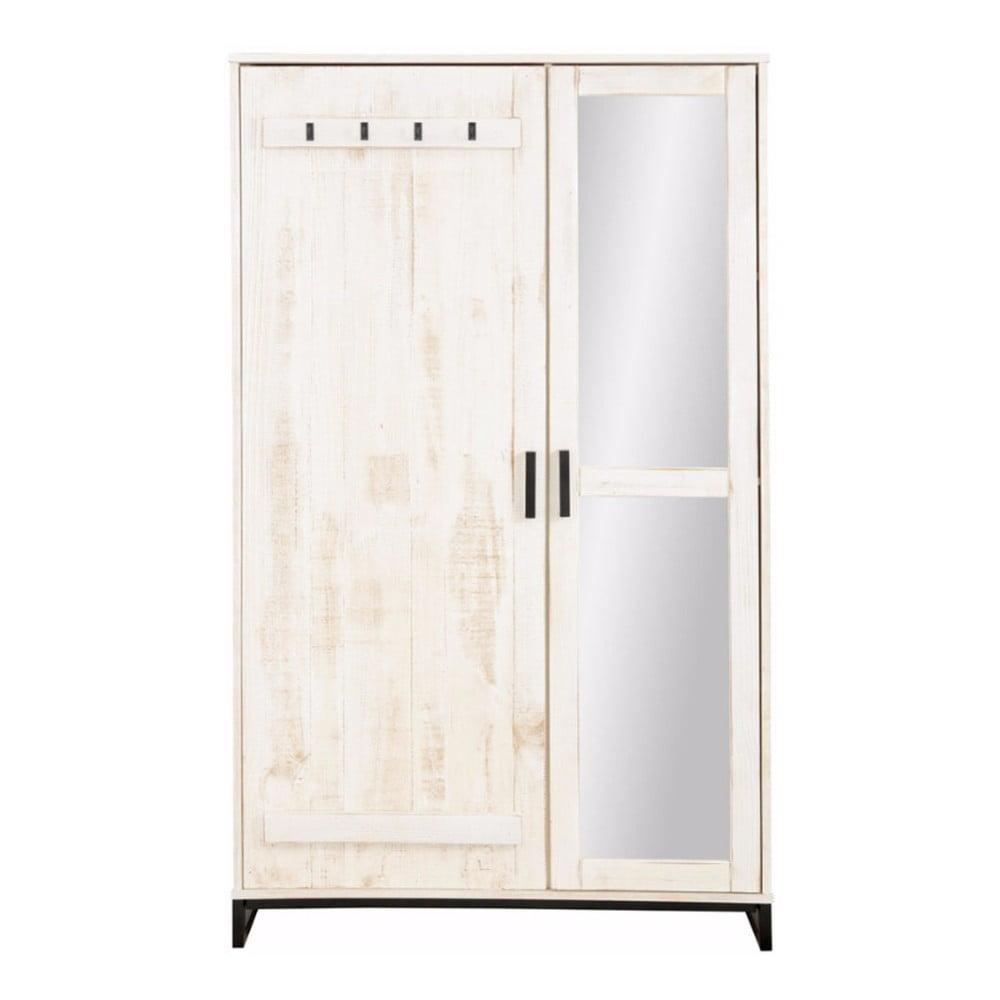 Bílá šatní skříň z masivního borovicového dřeva se zrcadlem Støraa Santana