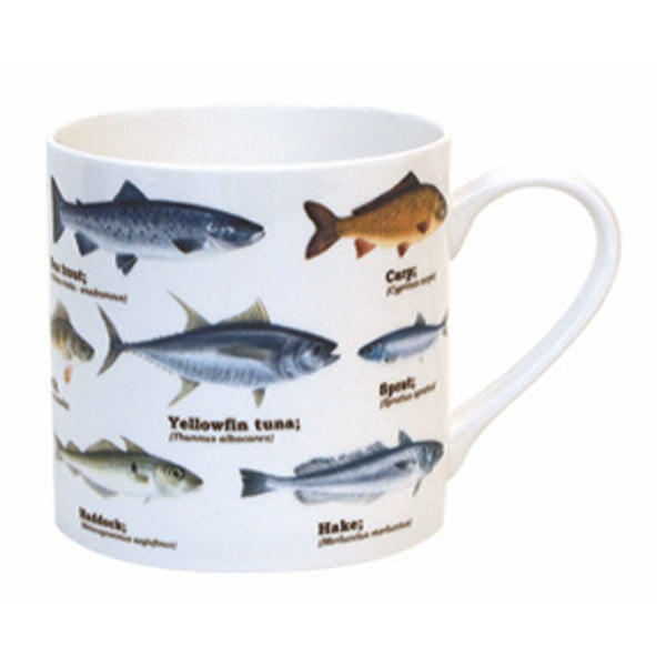 Cană din ceramică Gift Republic Multi Fish Blue