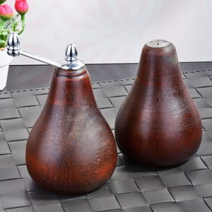 Sada hnědých bambusových mlýnků na sůl a pepř Pear