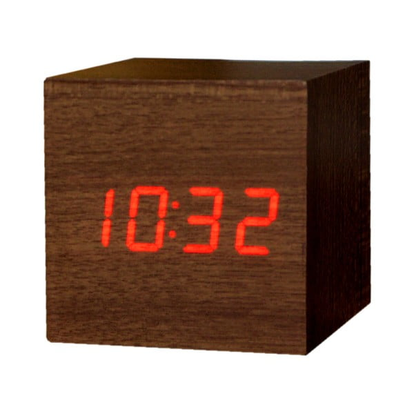 Tmavě hnědý budík s červeným LED displejem Gingko Cube Click Clock