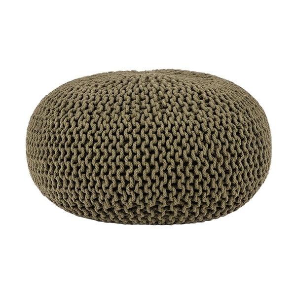 Knitted khakiszínű kötött puff, ⌀ 70 cm - LABEL51