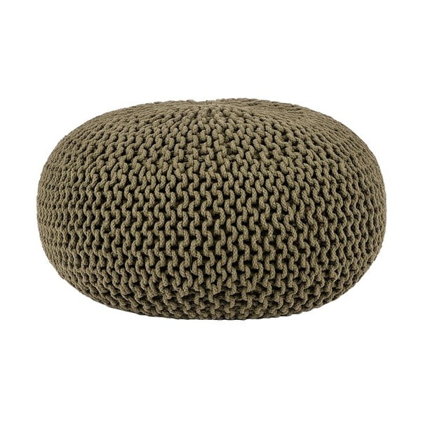 Khaki puf dziergany LABEL51 Knitted, Ø 70 cm