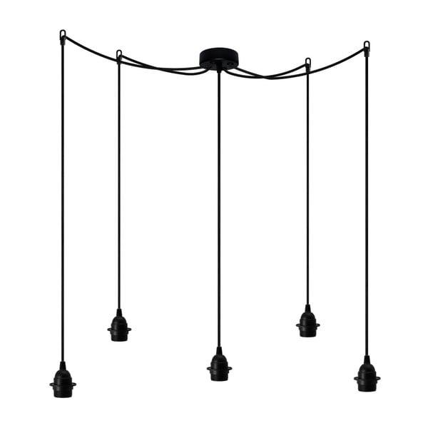 Černé závěsné svítidlo s 5 kabely Bulb Attack Uno Staple