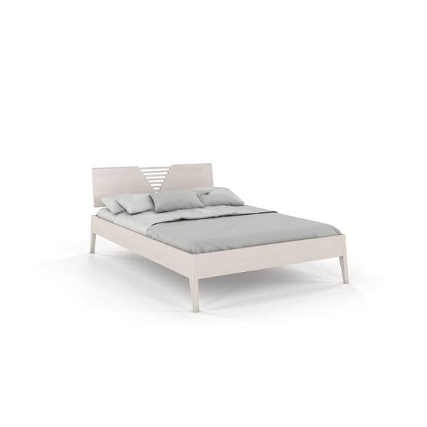 Biela dvojlôžková posteľ z borovicového dreva Skandica Visby Wolomin, 160 x 200 cm