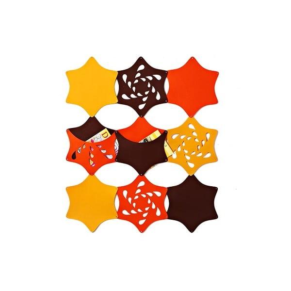 Plstěný závěsný kapsář Květina, žlutá/oranžová/hnědá