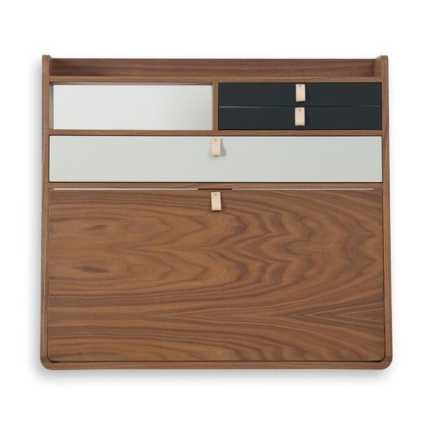Nástěnný sekretář z ořechového dřeva s šedými a bílými zásuvkami HARTÔ Gaston, šířka80cm