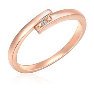 Stříbrný prsten v barvě růžového zlata s pravým diamantem Tess Diamonds Fifi, vel.56