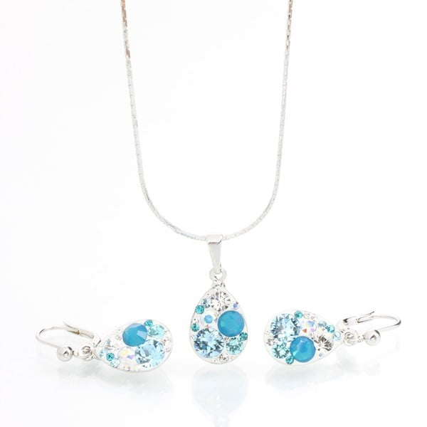 Set Laura Bruni se Swarovski Elements Droplets Aqua