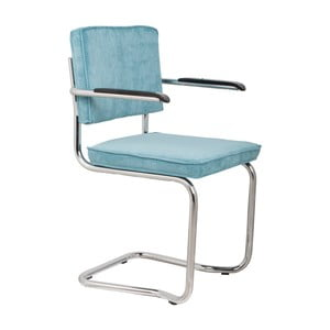 Set 2 scaune cu cotiere Zuiver Ridge Kink Rib, albastru