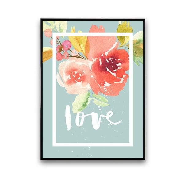 Plakát s květinami Love, modré pozadí, 30 x 40 cm
