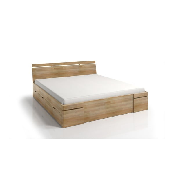 Pat dublu din lemn de fag, cu sertar, SKANDICA Sparta Maxi, 140 x 200 cm