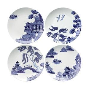 Sada 4 porcelánových talířů Willow Love Story, 21 cm