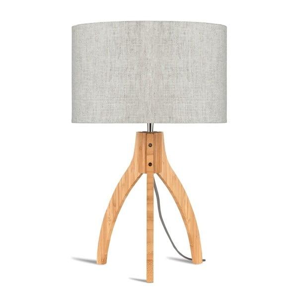 Stolová lampa so svetlobéžovým tienidlom a konštrukciou z bambusu Good&Mojo Annapurna