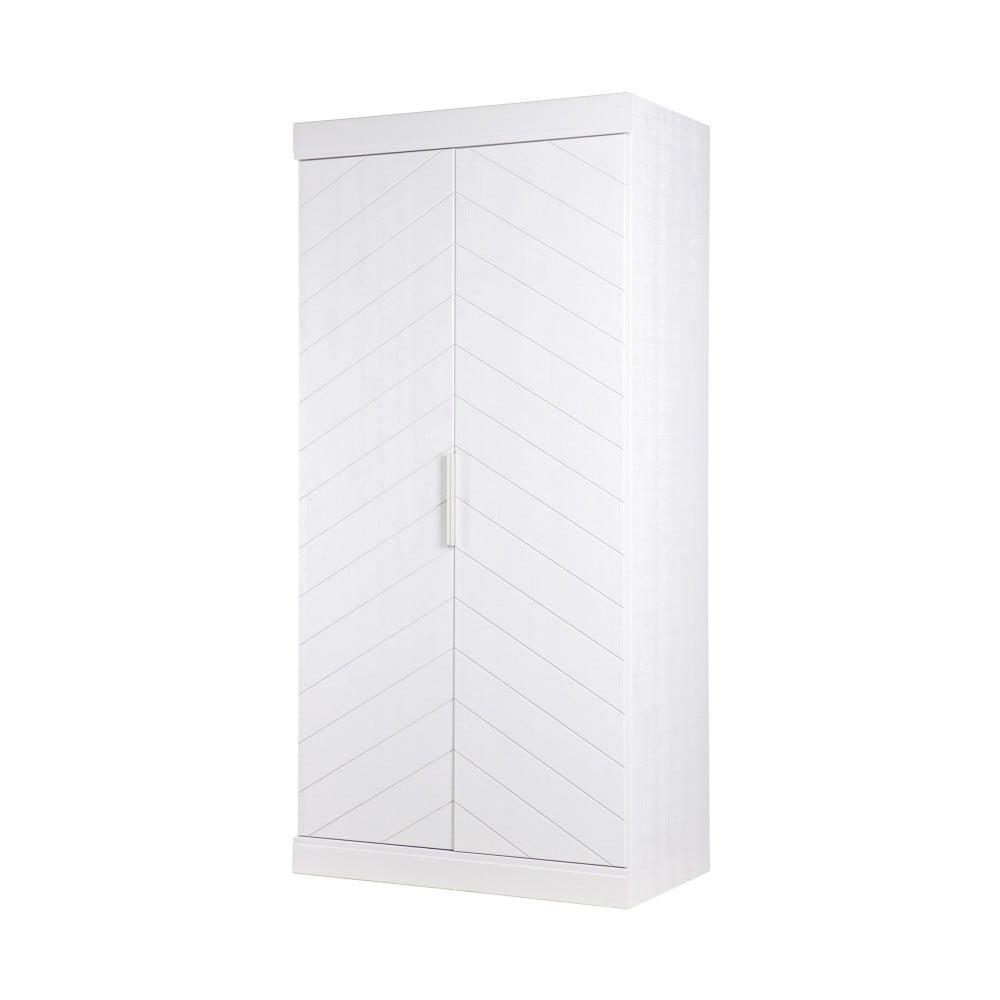 Bílá skříň z borovicového dřeva De Eekhoorn Fishbone