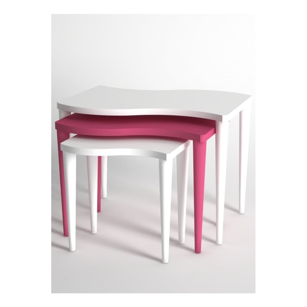 Sada 3 konferenčních stolků v bílé a růžové barvě Monte Gofrato