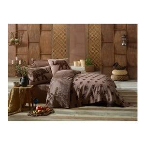 Set lenjerie de pat pentru o persoană și cuvertură Fil, maro