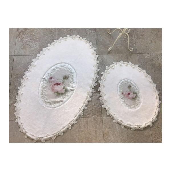Alessia Inci Oval Cream 2 db-os fürdőszobai kilépő szett