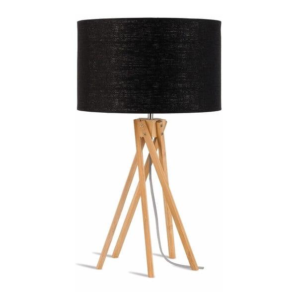 Stolová lampa s čiernym tienidlom a konštrukciou z bambusu Good&Mojo Kilimanjaro