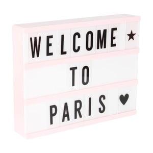 Světle růžová světelná tabule se 3 řádky Opjet Paris Affichage