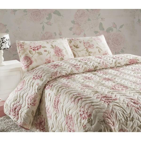 Care krémszínű kétszemélyes steppelt ágytakaró párnahuzattal, 200 x 220 cm