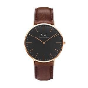 Unisex hodinky s hnědým páskem Daniel Wellington Bristol Rose, ⌀40mm