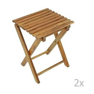Sada 2 zahradních skládacích stoliček z eukalyptového dřeva ADDU Tacoma