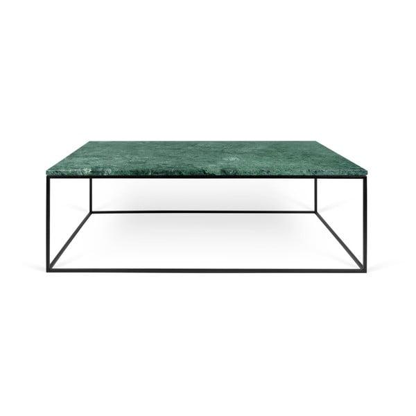 Zielony stolik marmurowy z czarnymi nogami TemaHome Gleam, 75x120 cm