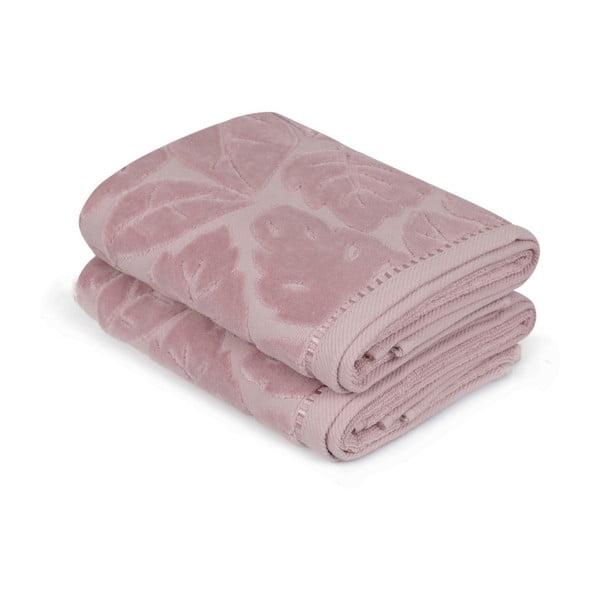 Zestaw 2 fioletowych ręczników, 50x90 m