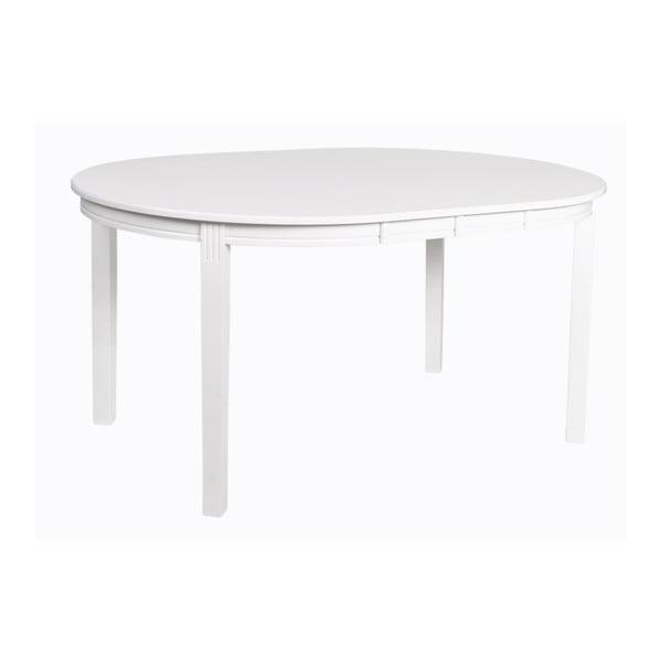 Bílý rozkládací jídelní stůl z dubového dřeva Rowico Wittskar, 150x107cm